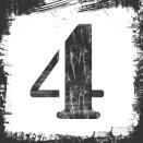 Single Number 4 Stamp, Grunge Design